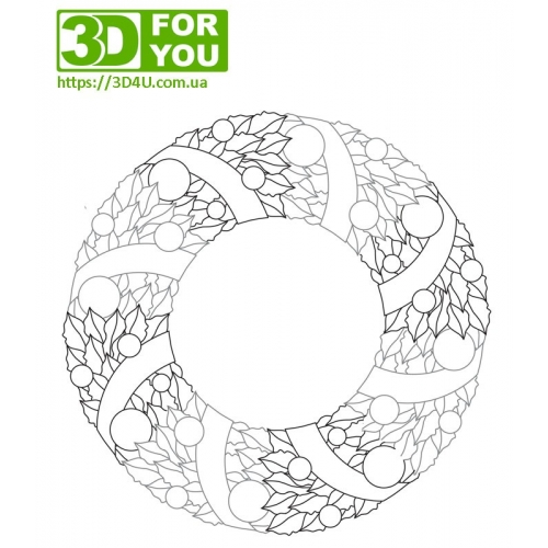 Рождественский венок (трафарет для 3D ручки)