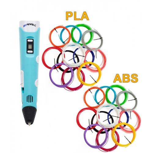 3D-Ручка MyRiwell RP-100B + 120 м (PLA + ABS по 12 цветов). Набор MEGA
